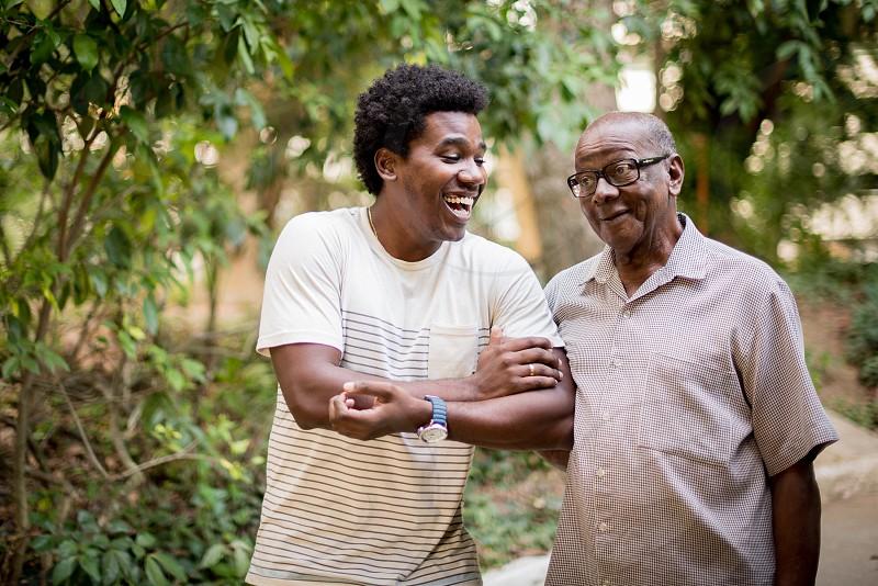 love smile laughs holding hands grandparent grandson happy friends lovely friendshipwalking  photo
