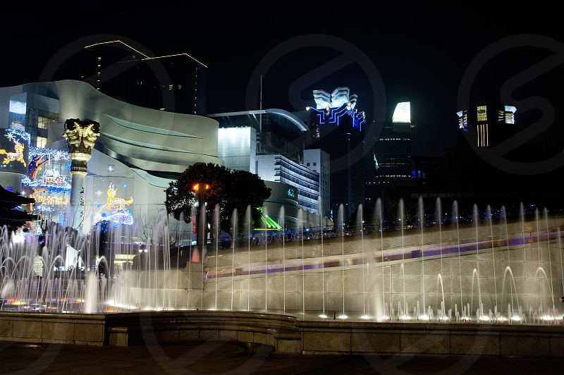 shanghai fountainilluminated by colorfull light by night photo