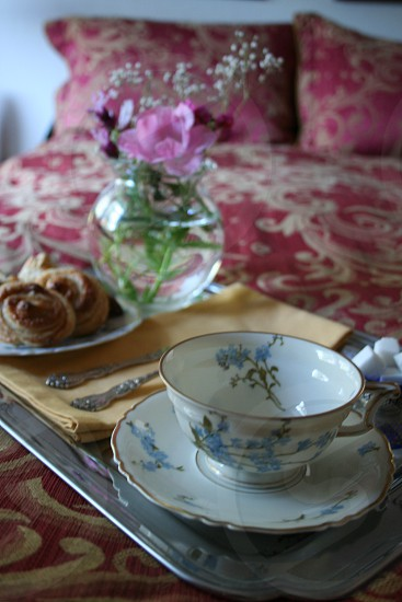 Breakfast tray on bed photo