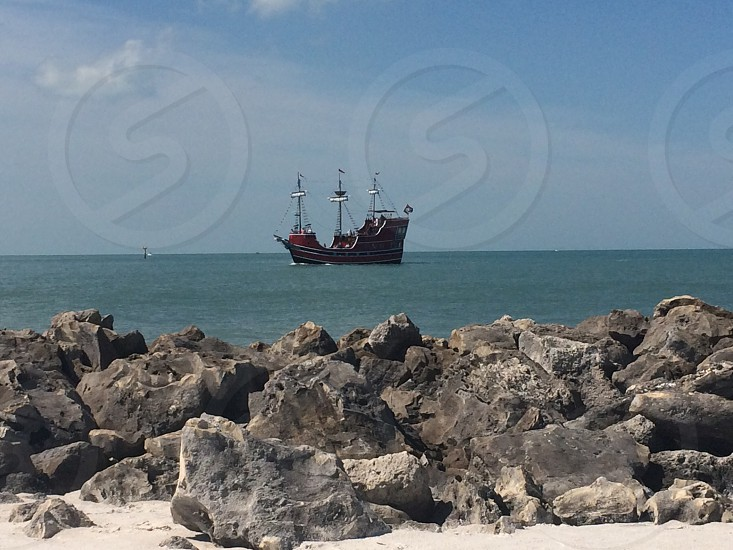 Pirate ship pirate ship beach water photo