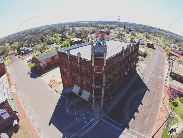 Oklahoma Victoria architecture history old drone aerial Capitol capital abandoned. photo
