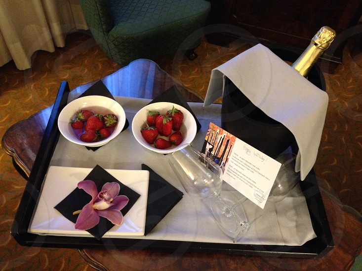 Champagne strawberries orchid birthday celebration gift from manager & staff hotel surprise breakaway holiday photo
