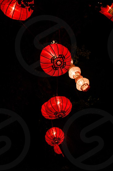 Chinese lantern street night red new year photo