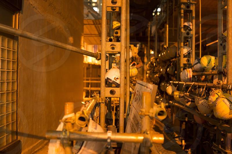 Night industrial warehouse photo