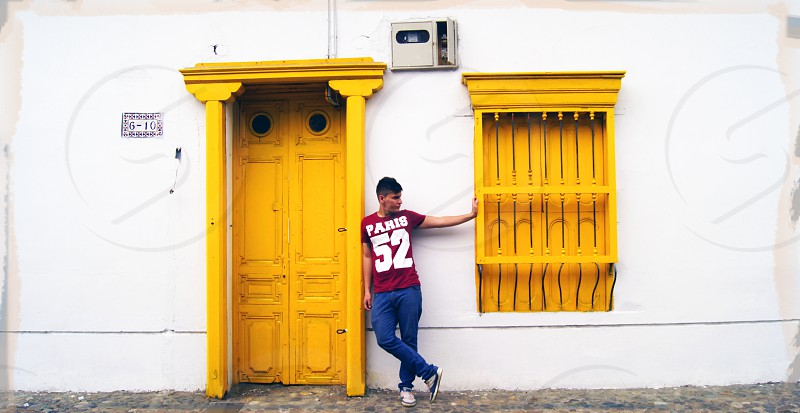 The yellow house. San Antonio Cali Colombia photo