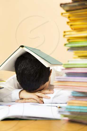 child; education; studying; sleeping; homework; book; disappointed; frustrated; frustration; bored; boy; school; sad; student; learning; boring; upset; desperate; copy space; disinterested; little; hands on head; young; People; elementary school; caucasian; home; minor; children; person; only children; childhood; classmate; black hair; school boy; 6-7 years; cute; kid; educational; study; learn; schoolmate; disappointing; disappointment; sadness; displeased; sorrow; white; shirt photo