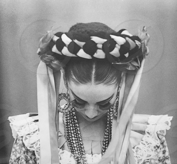 Costume black and white Mexican folklore eyelashes ribbons photo