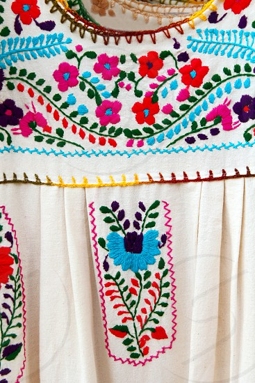 Mexican embroidered Chiapas dress detail photo