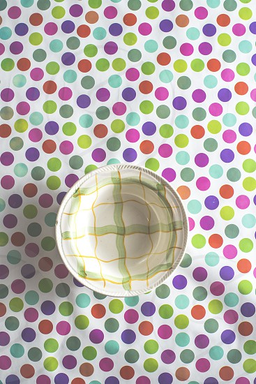 Empty plate on colorful background photo