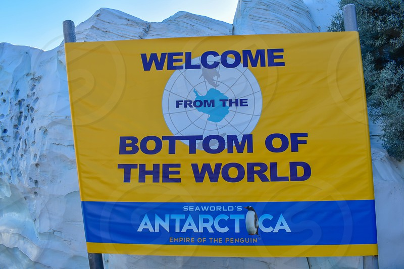 Orlando Florida . February 26  2019. Antarctica sign at Seaworld Theme Park . photo