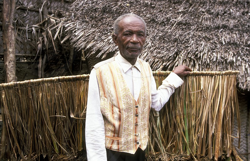 a men in the city of Moutsamudu on the Island of Anjouan on the Comoros Ilands in the Indian Ocean in Africa.    photo