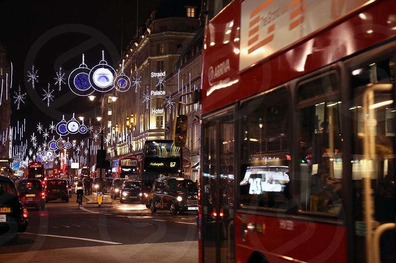 London; Travel; Christmas; decoration; night; bus photo