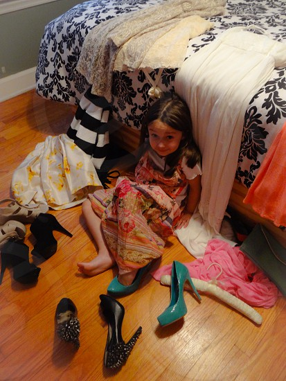 Playing dress up in moms closet photo