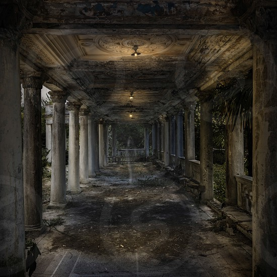Abandoned railway station in the night  photo