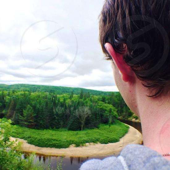 Hike hiking trail Huntsville Ontario summer action shot photo