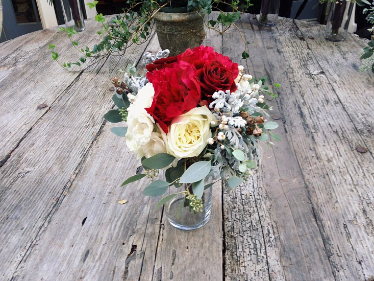 white and red flower bouquet photo