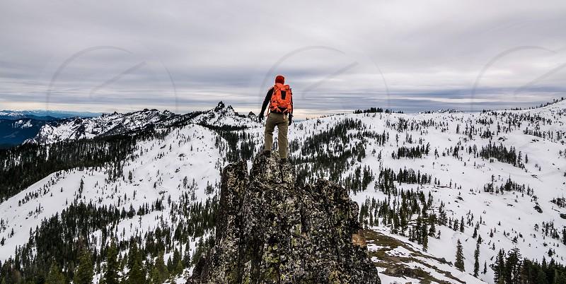 climb snow view edge cliff mountain freedom photo