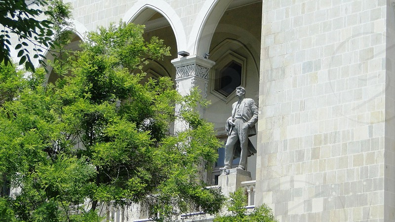 Fragment of the building of the state library which was built in the twentieth century. Monuments to poets and writers of the world scale. Architecture Of Baku. Azerbaijan. photo