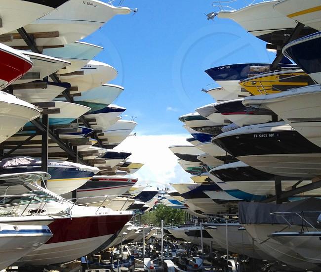 speedboats on rack photo