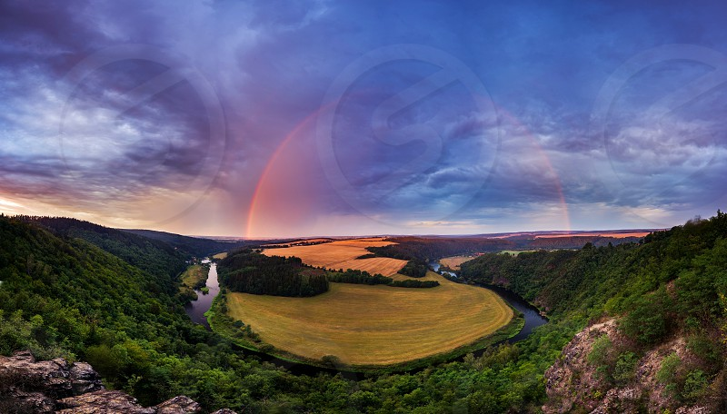 Beautiful colorful landscape and rainbow in the Czech Republic. photo