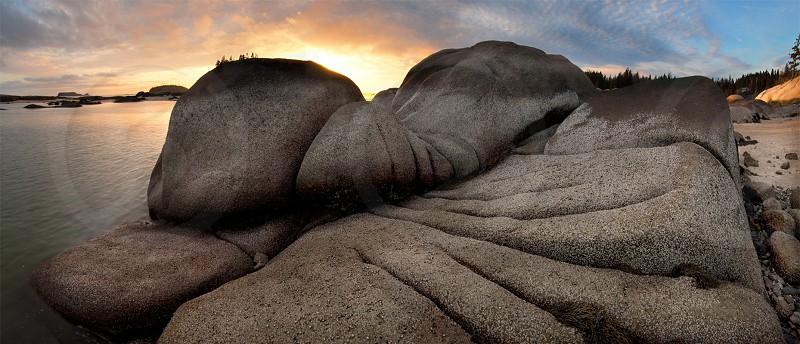 Grooved Ledge Stonington Maine Maine coast granite ledges sunset sunrise. photo