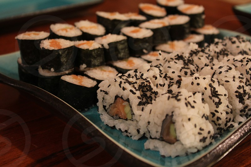 Sushi maki and in out roll photo