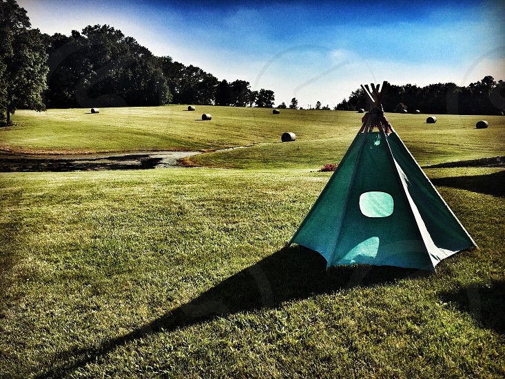 Tent camping field vacation relaxation peaceful green outdoors nature Midwest  photo
