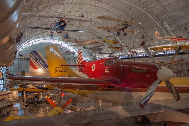 Steven F. Udvar-Hazy air museum Chantilly Virginia. Aircraft arrayed and suspended photo