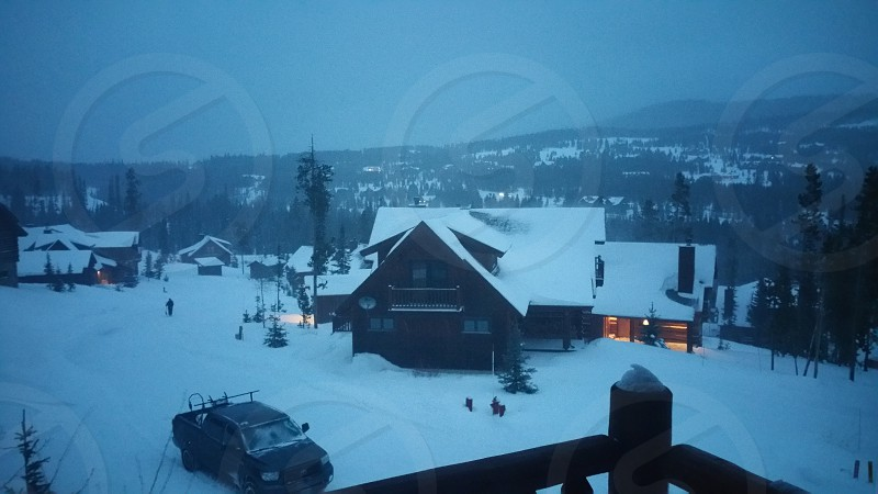 Cabins in the evening at Big Sky MT photo