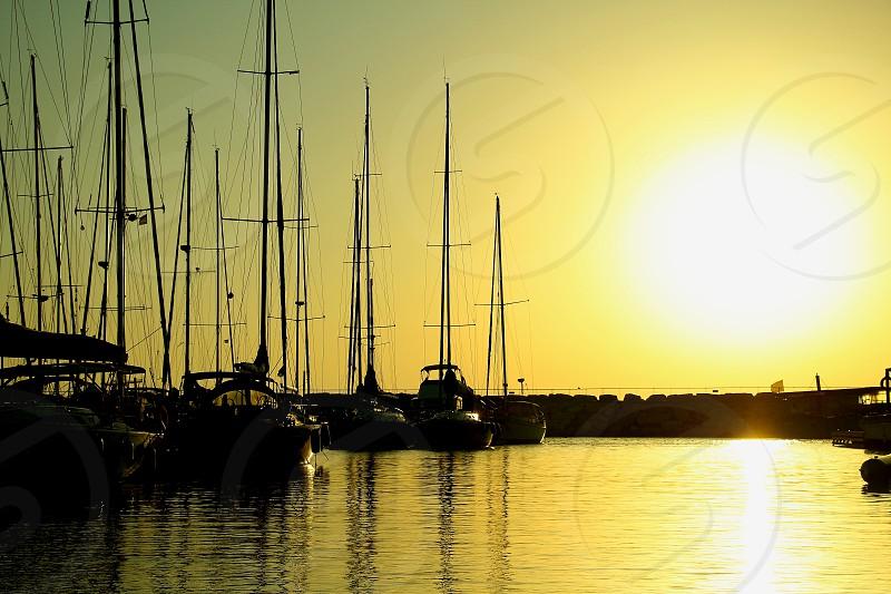 sail boats moored at caesare maritima tel aviv israel photo