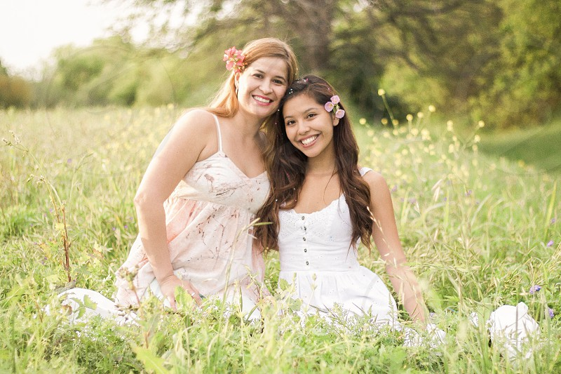 Spring flowers family outdoors mother daughter love blooming smiles mother daughter spring time Texas girls women  photo