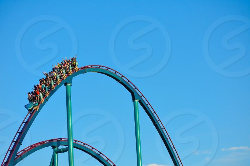 Orlando Florida . February 26  2019. Nice people having fun amazing Mako rollercoaster at Seaworld Theme Park (3) photo