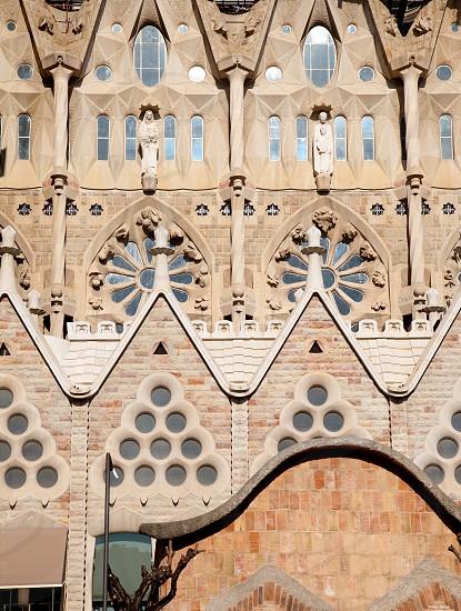 Barcelona Sagrada Familia cathedral by Gaudi architect facade details photo