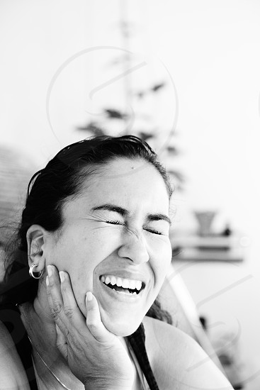 Laughter in black and white photo