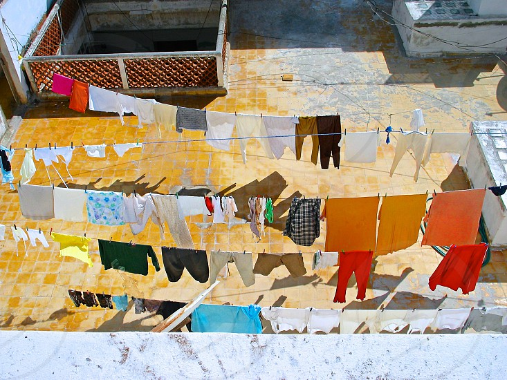 colorful clothes lines in Morocco  photo