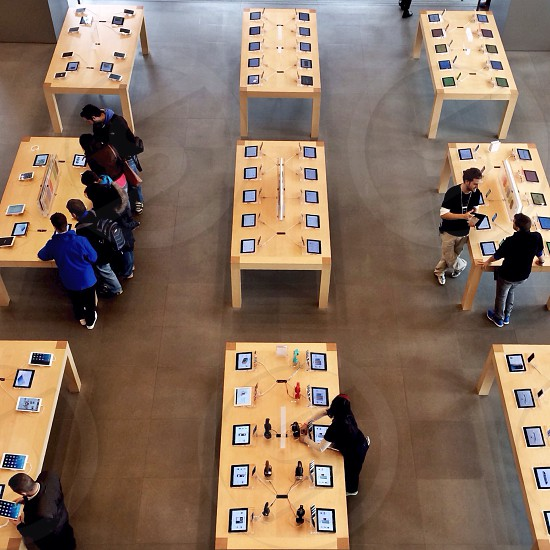 An overhead view of iPad tablets on display at the Apple store in Barcelona Spain. photo