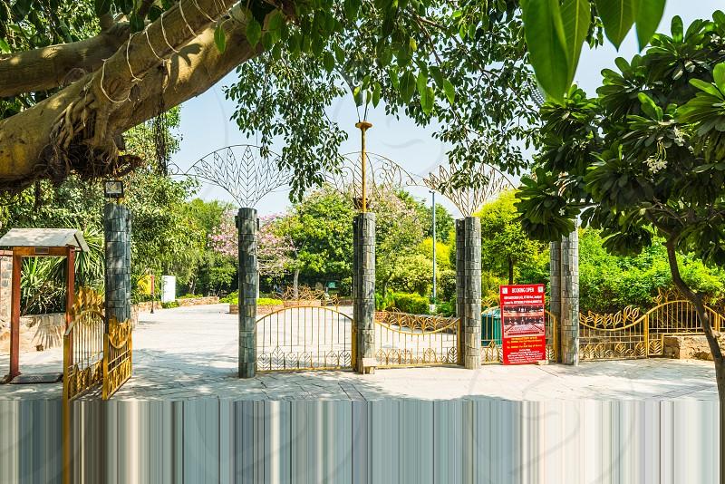Entry gate of Garden of Fifth Sense at New Delhi photo