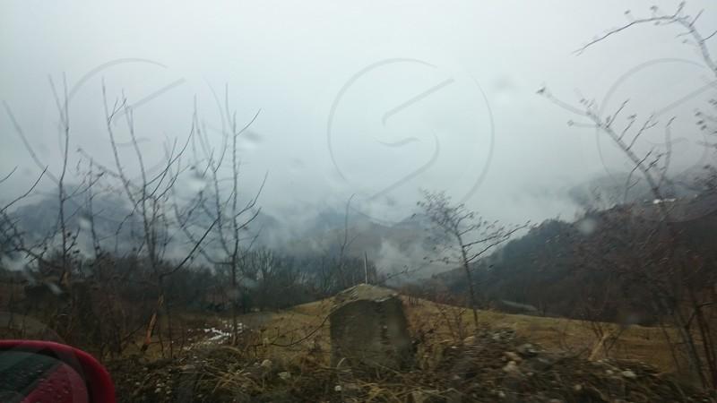 driving through romanian mountains photo