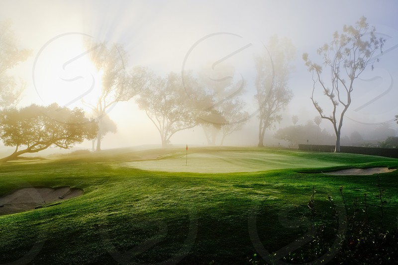 view of foggy golf course photo