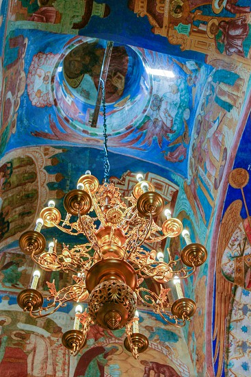 Chandelier and frescoes inside the Transfiguration Cathedral  of the Saviour Monastery of St. Euthymius Russia Suzdal photo