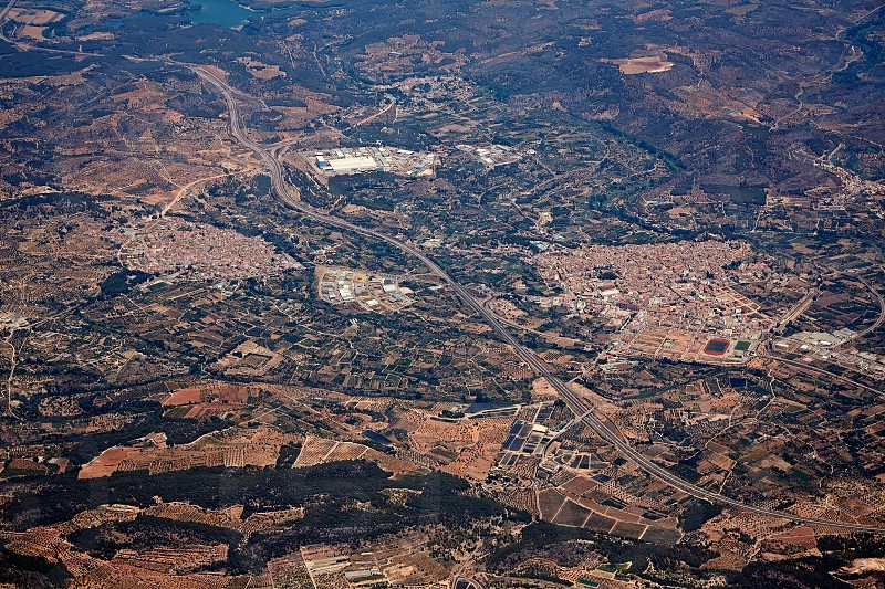 Segorbe and Altura villages aerial in Castellon Province of Valencian community at Spain photo