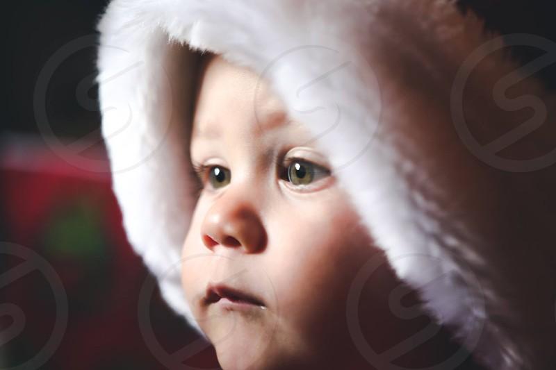 baby in white hood photo
