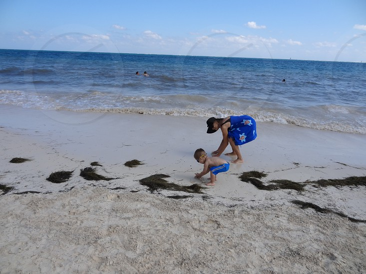 Beach Grandma and Grandson photo