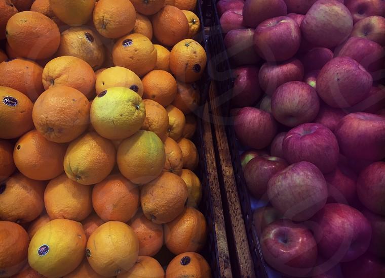 Appleorangemarketfresh fruits photo