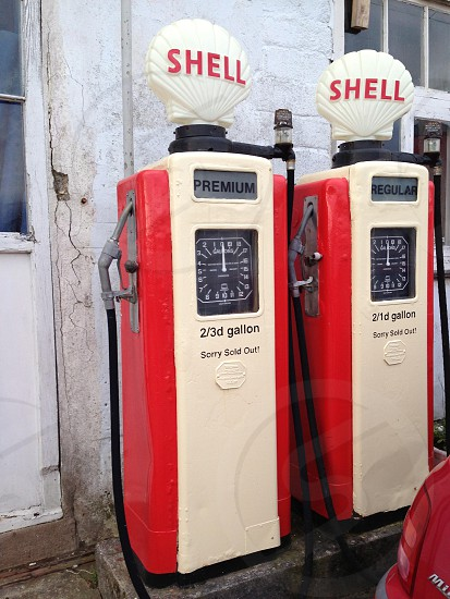 Two vintage petrol pumps in St Mawes photo