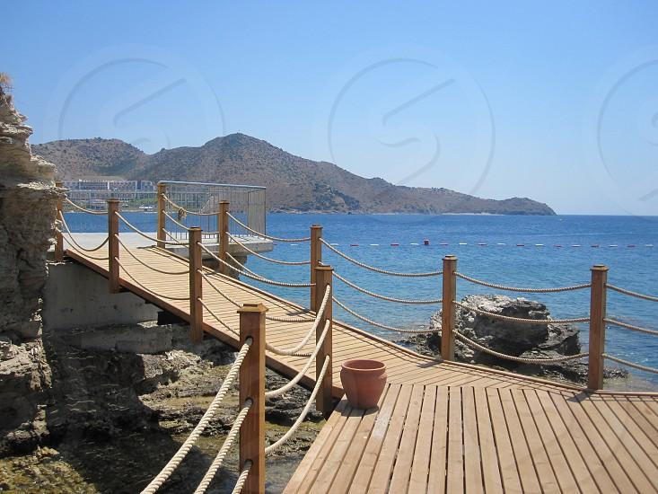 Sea beach wooden deck photo