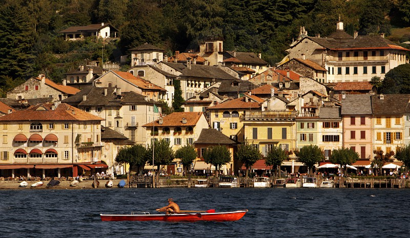 the Fishingvillage of Orta on the Lake Orta in the Lombardia  in north Italy.  photo