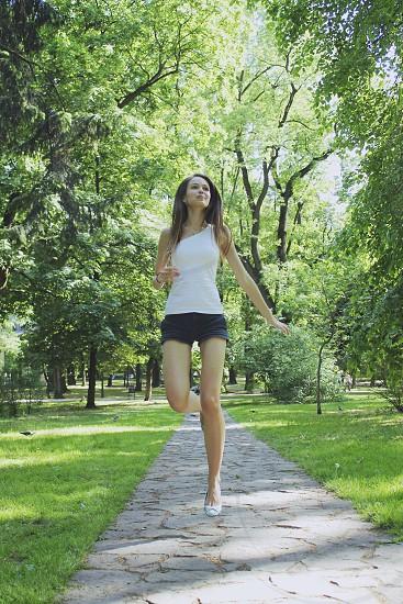 woman wearing black fabric shorts photo