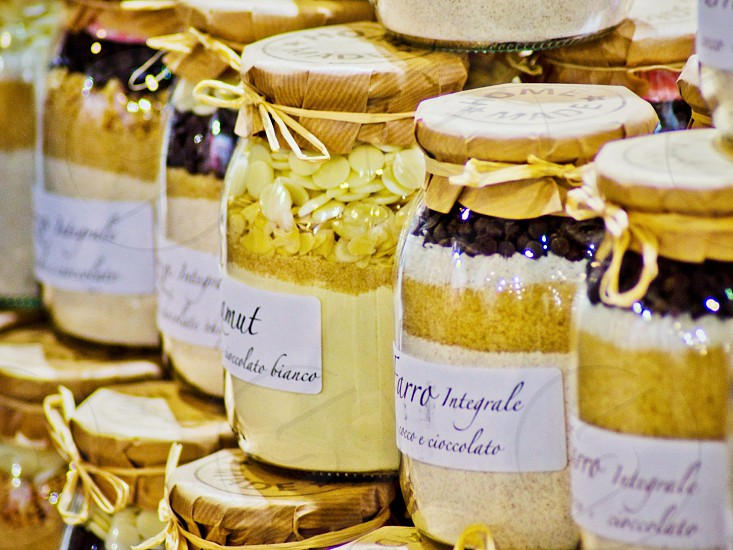 assorted jars of dessert mixes photo