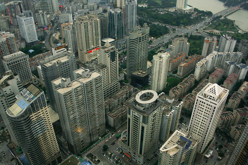 Late afternoon cityscape view of the center of Nanning the capital of Guangxi Zhuang Autonomous Region in southern China from the 54th floor of the Diwang International Commerce Center photo